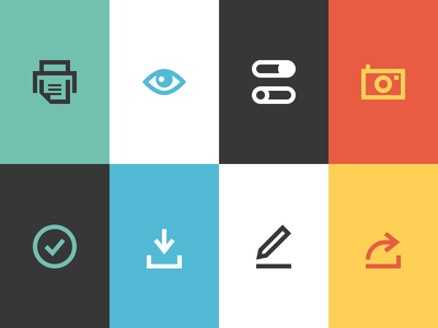 MailChimp App Icons newsletter mailchimp icons flat printer share settings camera checkmark download edit icon
