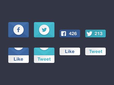 Social slide boxes free facebook twitter buttons slide like tweet psd
