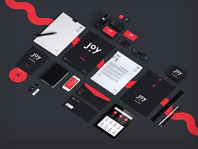 Joy Intermedia - Rebranding joy intermedia rebranding stationery logo business cards envelope red black