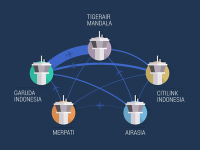 Indonesia in the sky - part 1 infographic graph indonesia sky chart air airplane blue connector