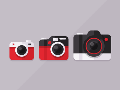 Take a photo flat icons camera red black white graphic design