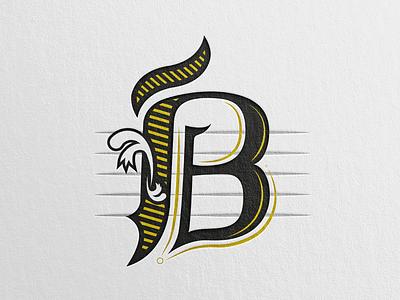 B the letter letter b swoosh typography black monogram mark type sketch