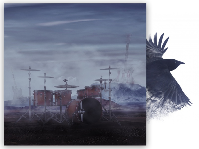 Surreal collage poster bass guitar drums music artwork music art art design collage ravens crow illustrator photoshop