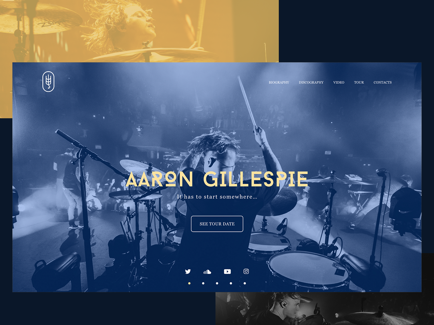 Aaron Gillespie music drums minimal lettering type web vector illustration adobexd figma website ui ux site photoshop flat design