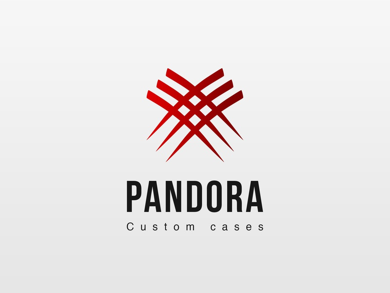 "Logo ""Pandora"" cases custom pandora branding typography vector logo illustration flat design"