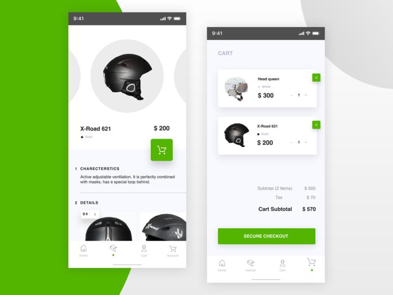 """Helmet"" App app adobe icon figma ux photoshop adobexd ui flat design"