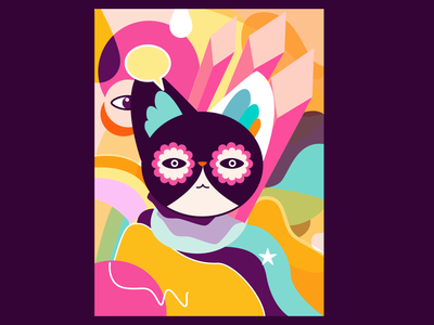 Cool Cat flat design ui illustration