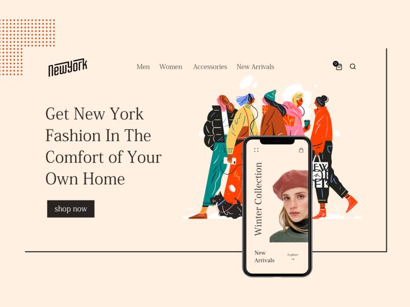 New York Fashion modern branding ui design illustration concept minimal website ux ui web design new york city new york