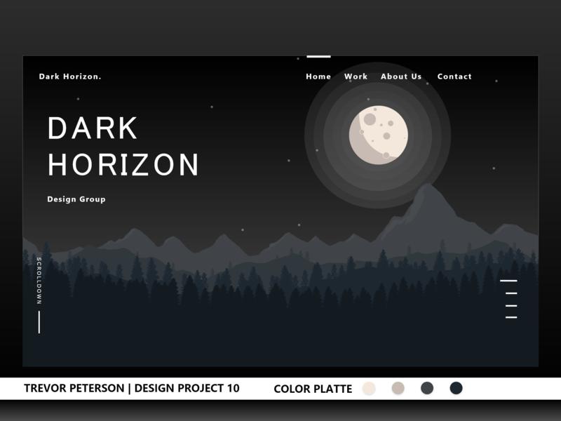 Daily Web/UI Design 09 | Dark Horizon ui  ux design modern website minimalist daily web design web designer daily ui minimal web design uxdesign ui design ux ui darl night moon