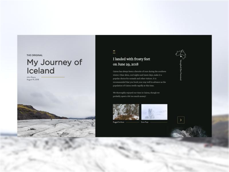 Journey of Iceland blog page redesign web designer minimalist concept minimal illustration ui ux design website web design blog iceland travel