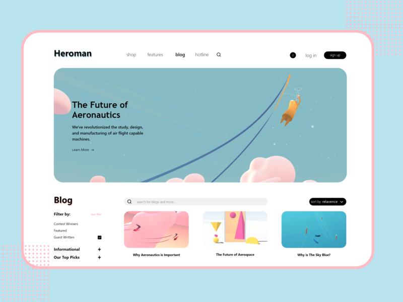 Heroman Website Design illustration logo branding ux minimalist concept minimal ui website web design flying