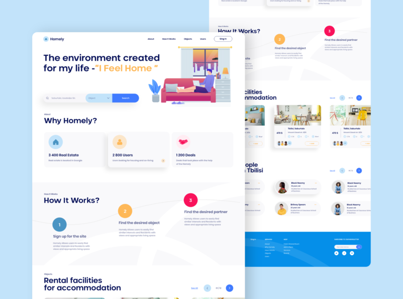 Homely minimal homepage sharing roommate webdesig website web ux ui realestate property listing search rent apartment landingpage landing house homely home