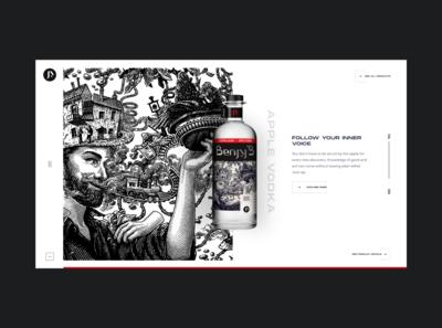 Benjy's Vodka apple brandy brand drinks bottle vodka drink art webdesign minimal vector typography website web design ux ui