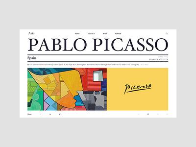 Pablo Picasso artwork art webdesign vector typography website web ui ux design