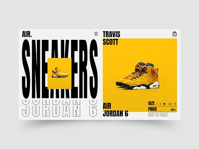Travis Scott Air Jordan 6 Yellow shoes shop yellow travis scott air sneakers webdesign minimal vector typography website web ui ux design