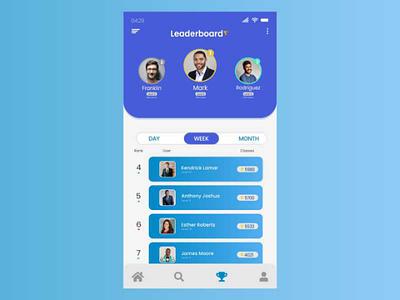 Leaderboard UI Design ui inspiration ui design daily ui app design ui ux mobile app