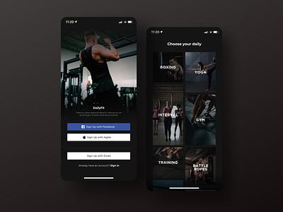 Workout App Exploration - Daily UI #6 dailyuichallenge healthy gym calories fitness service simple apple dark app bold ios minimal figma ui design layout concept clean ui
