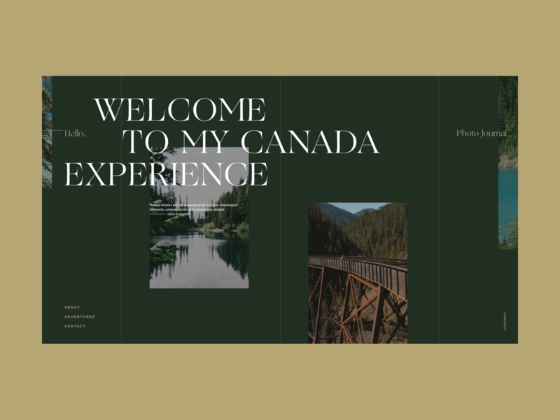 Canada Experience Journal – Landing 01 landingpage canada journal web photography art direction design minimal website minimalist typography layout web design product design
