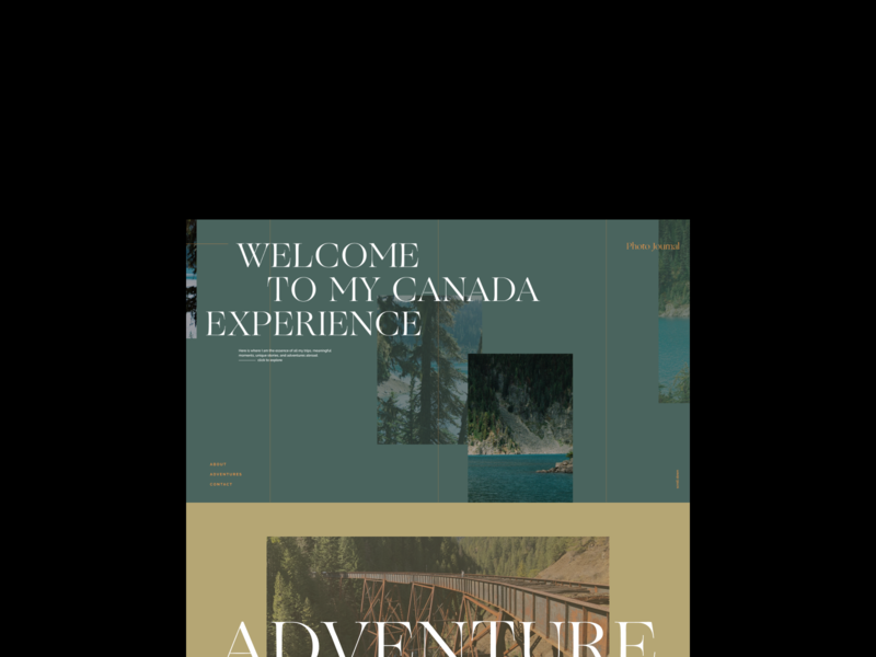 Canada Experience Journal – Landing 02 photography website photography visual design exploration layout exploration layout minimalistic web design landing web photo journal journal typography design art direction