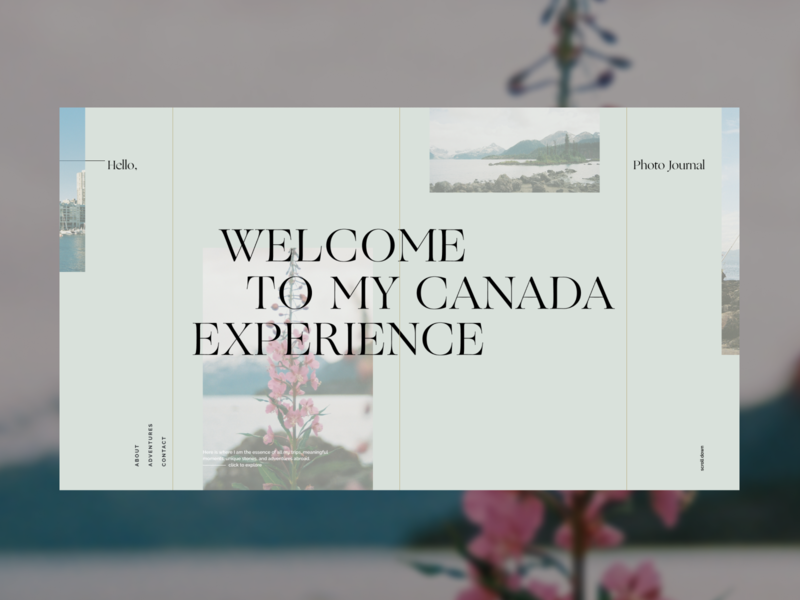 Canada Experience Journal – Landing 03 canada figma product design web design website web visual identity layout exploration photography website photo journal layout photography typography art direction visual design