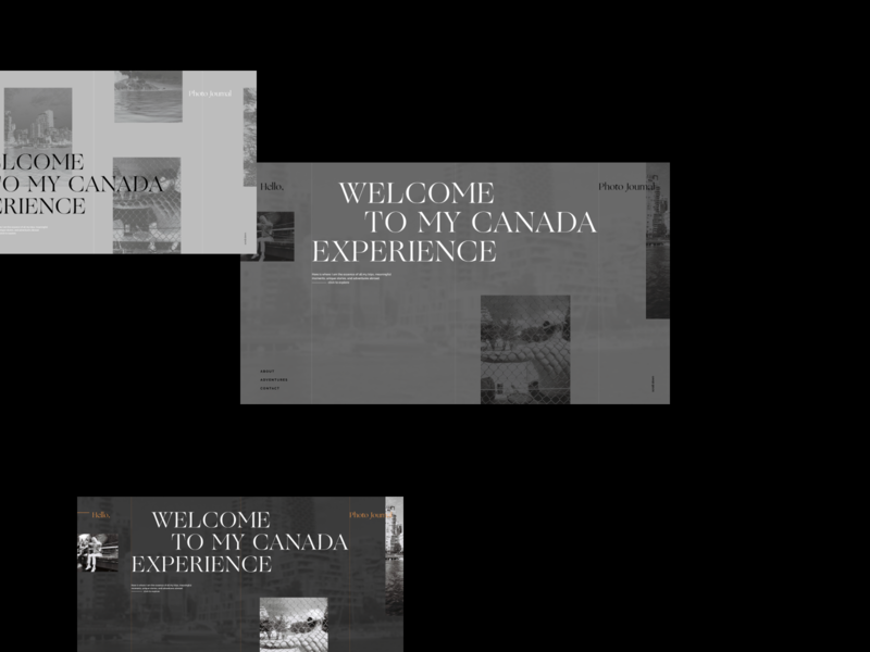 Canada Experience B&W typography minimalism blackandwhite photo journal layout website web web design product design user interface ux design art direction visual identity