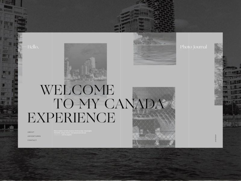 Canada Experience exploration website concept web design interface canada photographer photography photo online journal website web ux design ux ui art direction typography design