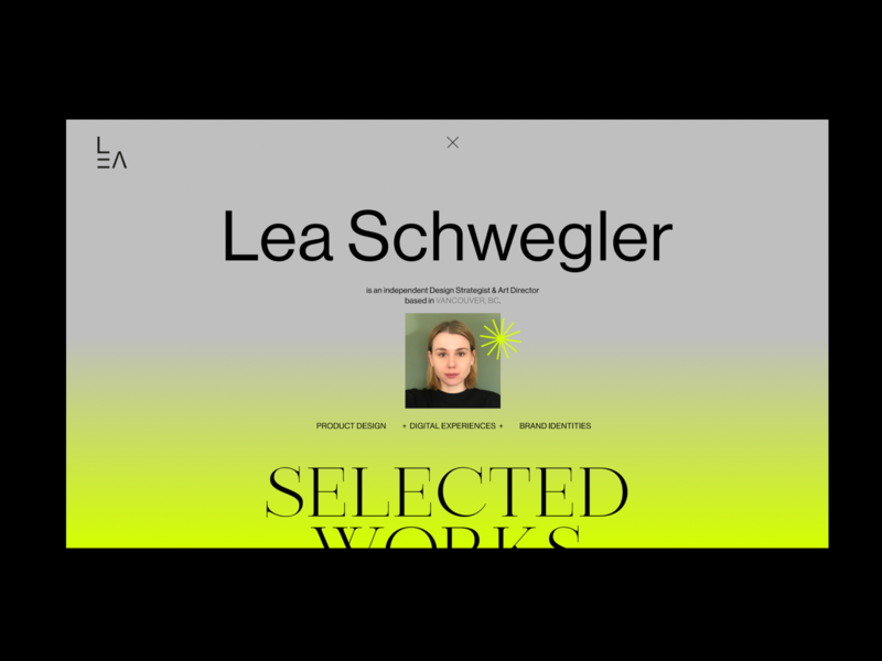 LEA Portfolio Website 2020: Landing Page selfbranding landing page visual identity layout web website ux ui web design typography branding art direction