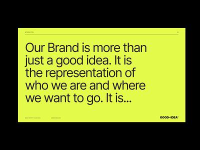 GOOD–IDEA® Brand Guide guidelines brand logo design wordmark logomark brand strategy minimal typography layout brand guide logo brand design brand identity visual identity art direction design branding