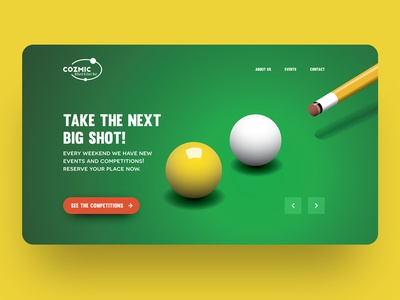 COZMIC landing page dart shot snooker cafe bar billiard café pool billards