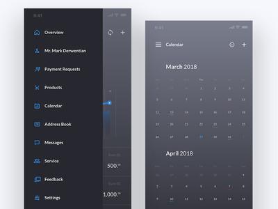 Banking App - Menu & Calendar View