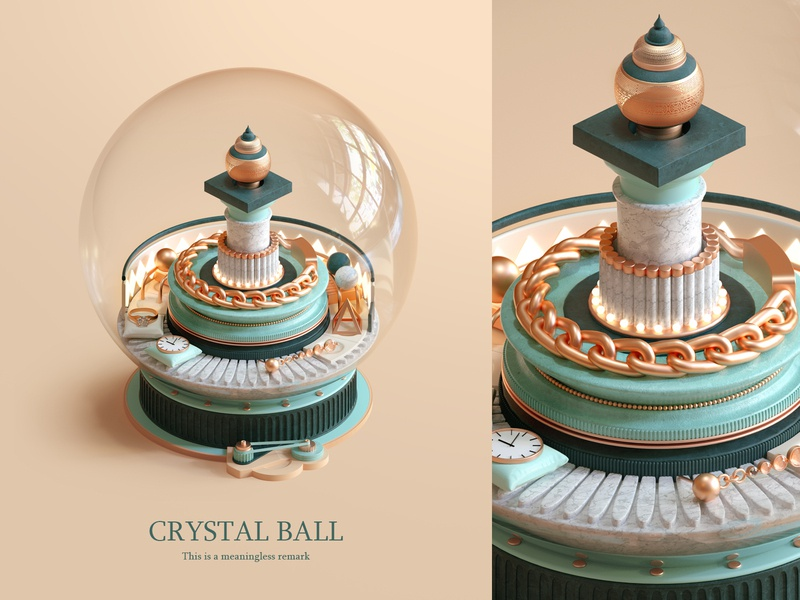 A crystal ball c4d poster 插图 design