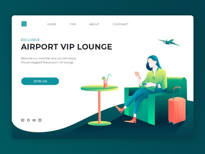 Airport VIP lounge ui design web illustration