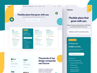 Occure || Pricing Page responsive design consultation template login freelance landing page pricing page ecommerce website agency saas landing page saas india design bruvvv ui web web design marketing pricing