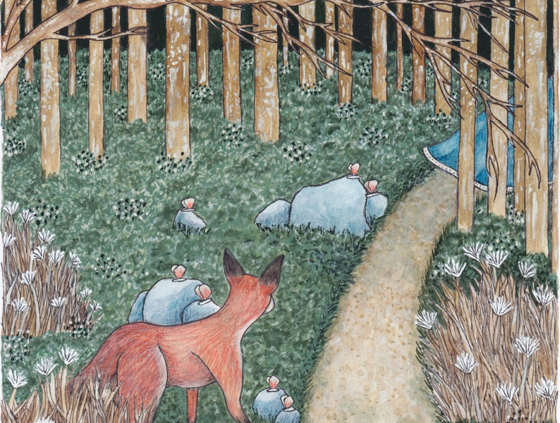 A Glimpse childrens illustration childrens book book illustration forest animals fox illustration butterflies dark forest forest little red riding hood blue dress fox botanical flowers animals fairy tales drawing beauty illustration