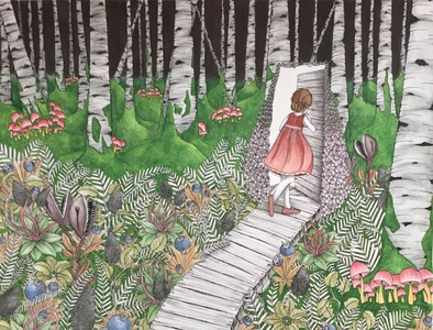 The Enchanted Forest dark forest rabbit alice in wonderland mushrooms blueberries carnivorous plants forest animals childrens books childrens illustration book illustration book herbalism botanical flowers animals fairy tales beauty drawing illustration