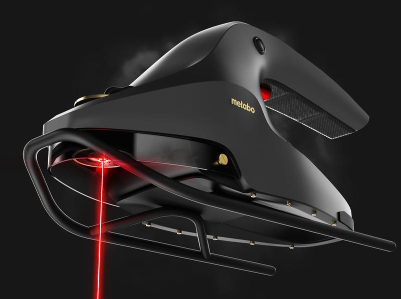 Futuristic handheld laser cutter concept for Metabo. red laser tools 3d models concept product design 3d handheld machine lasercut 3d rendering 3d render futuristic