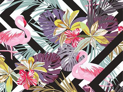 flamingos print logo flamingos illustration apparel design branding graphic t-shirt fashion