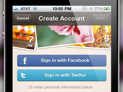 Create Account iphone ios login signin app brown facebook twitter buttons button