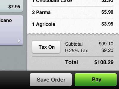 Point of Sale web and iOS UI texture button checkout pay pos receipt ios iphone ipad web app gray green light white