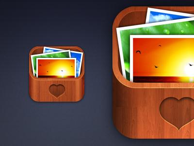 iOS App icon for TreasureBox logo ios app icon treasure box wood brown photos iphone design realistic texture icons