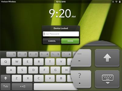 WebOS Keyboard palm webos keyboard shift letters green buttons keys lock tablet screen