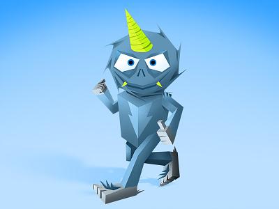 Monster 4 (Yeti) monsters illustrator origami paper noisey kids spikes yeti