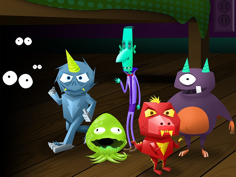 Monster 5 monsters illustrator origami paper noisey kids spikes
