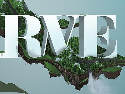 RVE digital illustration painting earth mountains wip lotsobrushes