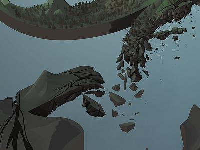 MAN SHIT IS FALLING APART digital illustration painting earth mountains wip lotsobrushes