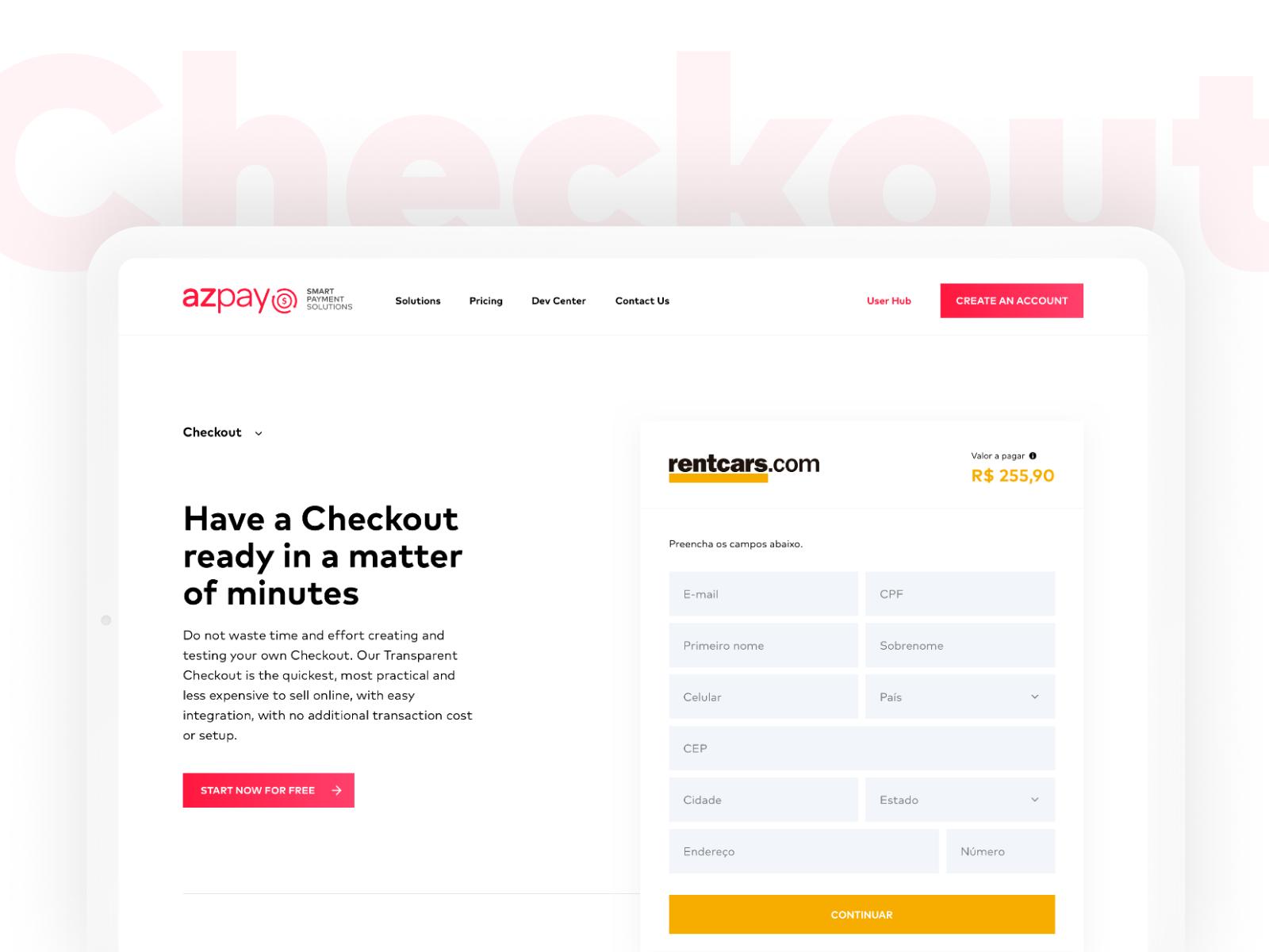 Azpay dribbble checkout