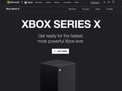 Xbox Series X - tweaked homepage website design web design webdesign xbox gaming website gaming