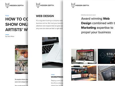 Hidden Depth Website is Live agency white fresh bright clean web design wordpress
