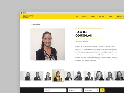 Lex Team Profile with Carousel ui web design about bio member profile team