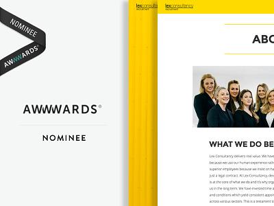 Awwwards nomination for Lex Consultancy nomination web design recruitment awwwards